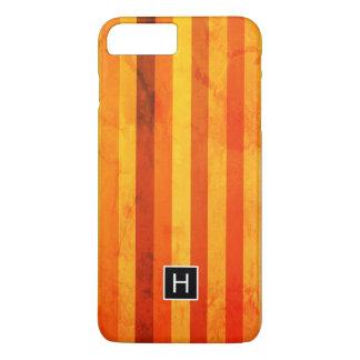 Coque iPhone 8 Plus/7 Plus Le rouge orange patiné chaud barre le monogramme