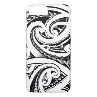 Coque iPhone 8 Plus/7 Plus Le tatouage maori conçoit le moko de la Nouvelle