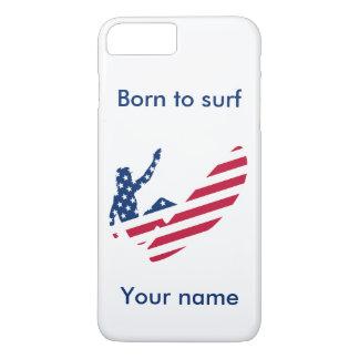 Coque iPhone 8 Plus/7 Plus Les Etats-Unis surfant le surfer américain
