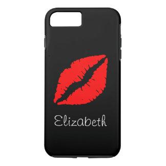 Coque iPhone 8 Plus/7 Plus Lèvres rouges noires personnalisées simples