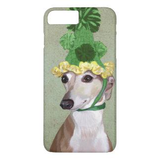 Coque iPhone 8 Plus/7 Plus Lévrier dans le casquette tricoté par vert