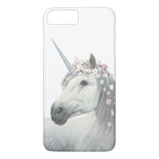 Coque iPhone 8 Plus/7 Plus Licorne d'esprit avec des fleurs dans la crinière