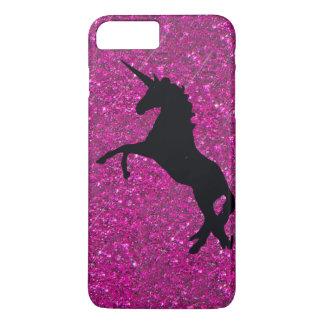Coque iPhone 8 Plus/7 Plus licorne sur le scintillement rose