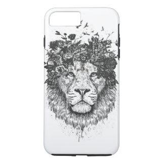 Coque iPhone 8 Plus/7 Plus Lion floral (noir et blanc)