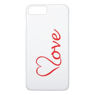 Coque iPhone 8 Plus/7 Plus Love coeur sur l'arrière-plan blanc