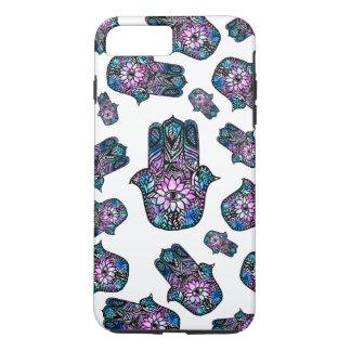 Coque iPhone 8 Plus/7 Plus main florale tirée par la main de Hamsa