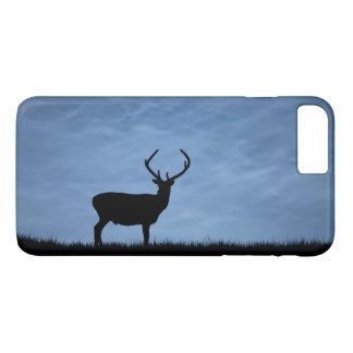 Coque iPhone 8 Plus/7 Plus Mâle silhouetté de cerfs communs rouges la nuit