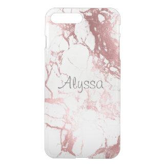 Coque iPhone 8 Plus/7 Plus Marbre de blanc de PixDezines+Or rose de Faux