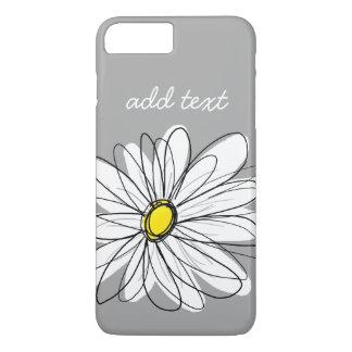 Coque iPhone 8 Plus/7 Plus Marguerite à la mode avec le gris et le jaune