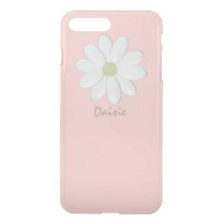 Coque iPhone 8 Plus/7 Plus Marguerite blanche pâle - rose