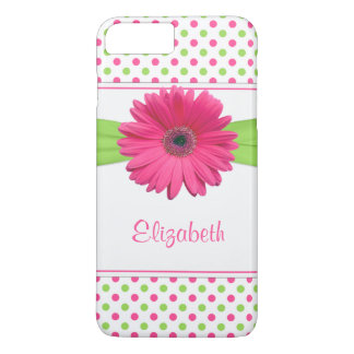 Coque iPhone 8 Plus/7 Plus Marguerite verte rose de Gerbera de point de polka