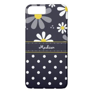 Coque iPhone 8 Plus/7 Plus Marguerites Girly et pois de mod avec le nom