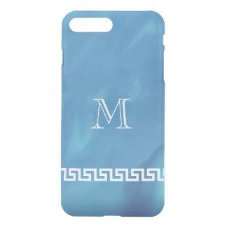 Coque iPhone 8 Plus/7 Plus Miroiter le monogramme principal grec bleu