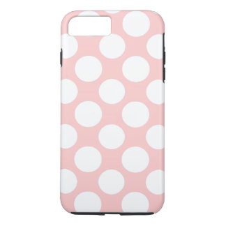 Coque iPhone 8 Plus/7 Plus Moderne rougissent le motif de pois blanc rose