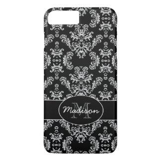 Coque iPhone 8 Plus/7 Plus Monogramme blanc vintage élégant de noir de