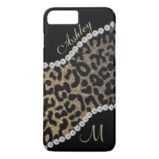 Coque iPhone 8 Plus/7 Plus Monogramme de diamant et de léopard