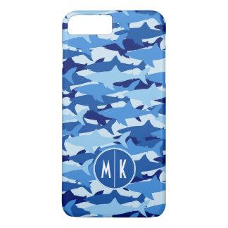 Coque iPhone 8 Plus/7 Plus Monogramme du motif | de requin bleu