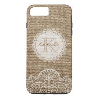 Coque iPhone 8 Plus/7 Plus Monogramme en ivoire de motif de dentelle de toile