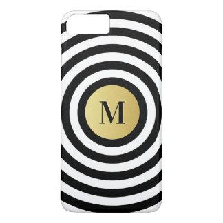 Coque iPhone 8 Plus/7 Plus Monogramme frais d'or de motif de rayure de noir