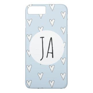 Coque iPhone 8 Plus/7 Plus Monogramme mignon de motif de griffonnage du coeur