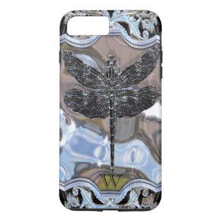 Coque iPhone 8 Plus/7 Plus Monogramme noir du dragon du liquide