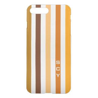 Coque iPhone 8 Plus/7 Plus Monogramme orange bronzage de rayures verticales