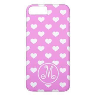 Coque iPhone 8 Plus/7 Plus Monogramme rose de coeur de polka
