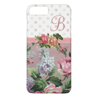 Coque iPhone 8 Plus/7 Plus Monogramme rose floral vintage de point de polka
