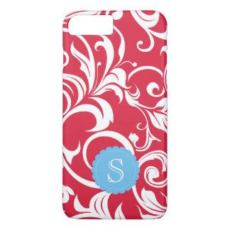 Coque iPhone 8 Plus/7 Plus Monogramme rouge juteux élégant de remous de