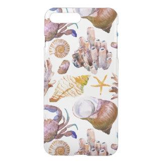 Coque iPhone 8 Plus/7 Plus Motif 4 de vie marine d'aquarelle