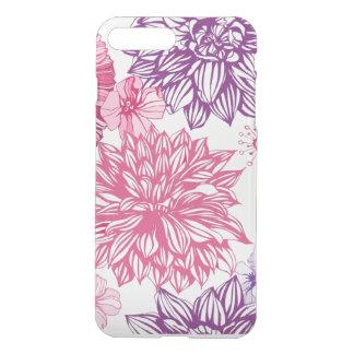 Coque iPhone 8 Plus/7 Plus Motif avec les asters et le dahlia roses