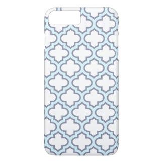 Coque iPhone 8 Plus/7 Plus Motif bleu-clair élégant de Quatrefoil de Marocain
