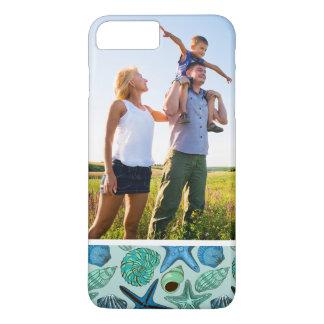 Coque iPhone 8 Plus/7 Plus Motif bleu de coquillages et d'étoiles de mer de