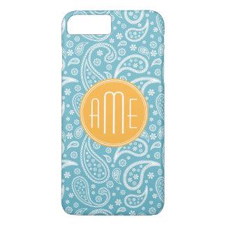 Coque iPhone 8 Plus/7 Plus Motif bleu de Paisley d'Aqua floral et monogramme