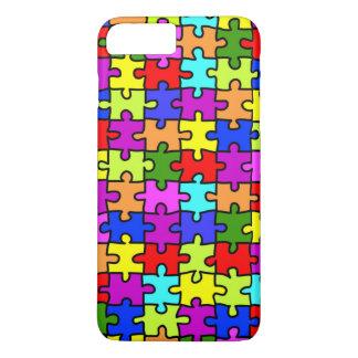 Coque iPhone 8 Plus/7 Plus Motif coloré de puzzle denteux d'arc-en-ciel