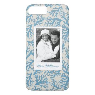 Coque iPhone 8 Plus/7 Plus Motif de corail bleu   votre photo et nom