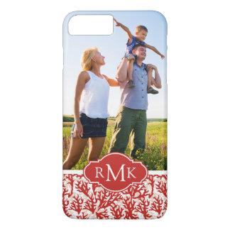 Coque iPhone 8 Plus/7 Plus Motif | de corail rouge votre photo et monogramme