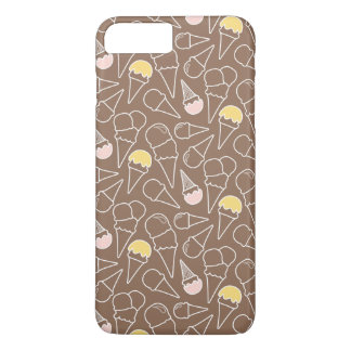 Coque iPhone 8 Plus/7 Plus Motif de cornet de crème glacée sur Brown