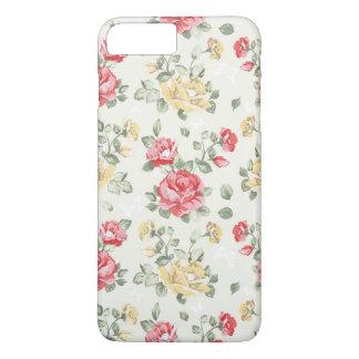 Coque iPhone 8 Plus/7 Plus Motif de papier peint d'élégance des roses roses