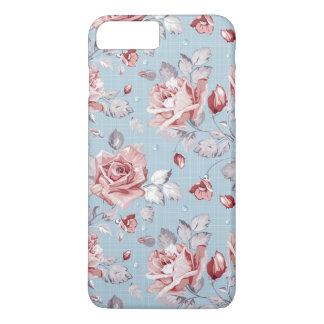 Coque iPhone 8 Plus/7 Plus Motif de papier peint d'élégance des roses roses 2
