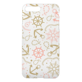 Coque iPhone 8 Plus/7 Plus Motif d'or d'ancre