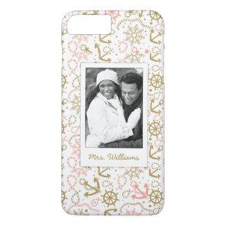 Coque iPhone 8 Plus/7 Plus Motif d'or   d'ancre votre photo et nom