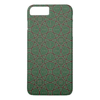 Coque iPhone 8 Plus/7 Plus Motif géométrique arabe égyptien en vert brun