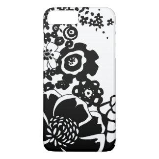 Coque iPhone 8 Plus/7 Plus Motif graphique de jardin floral noir et blanc