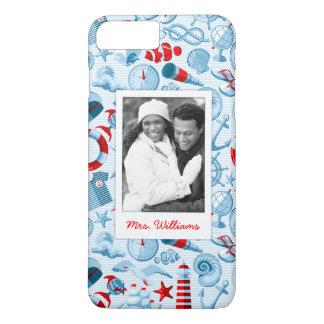 Coque iPhone 8 Plus/7 Plus Motif nautique patriotique | votre photo et nom