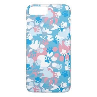 Coque iPhone 8 Plus/7 Plus Motif rose et bleu de chien de camouflage