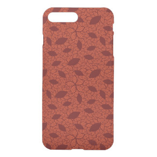Coque iPhone 8 Plus/7 Plus Motif rouge de feuille sur l'orange