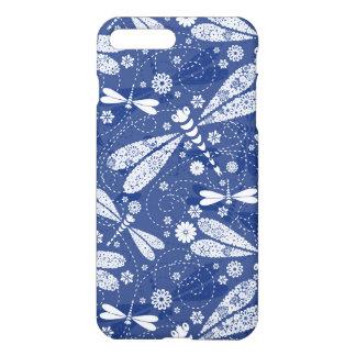 Coque iPhone 8 Plus/7 Plus Motif sans couture de libellule blanche et bleue