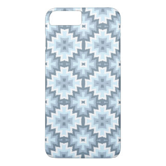 Coque iPhone 8 Plus/7 Plus Motif tribal bleu en pastel élégant d'Ikat de