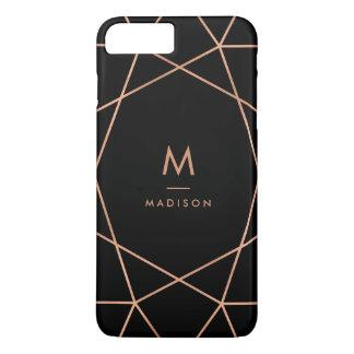 Coque iPhone 8 Plus/7 Plus Noir avec le motif géométrique d'or rose moderne